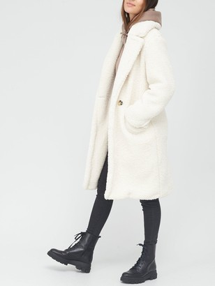 Very Longline Double Breasted Teddy Coat - Ivory