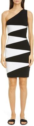 Victor Glemaud Geo Pattern Cotton & Cashmere One Shoulder Dress