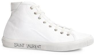 Saint Laurent Malibu High-Top Canvas Sneakers