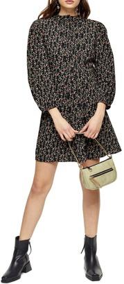 Topshop Floral Long Sleeve Minidress