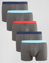 Asos Trunks In Gray Rib Fabric 5 Pack