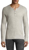 John Varvatos Silk Ribbed Henley Sweater