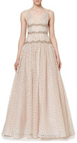 Carolina Herrera Sleeveless V-Neck Crystal-Waist Gown, Rose Gold