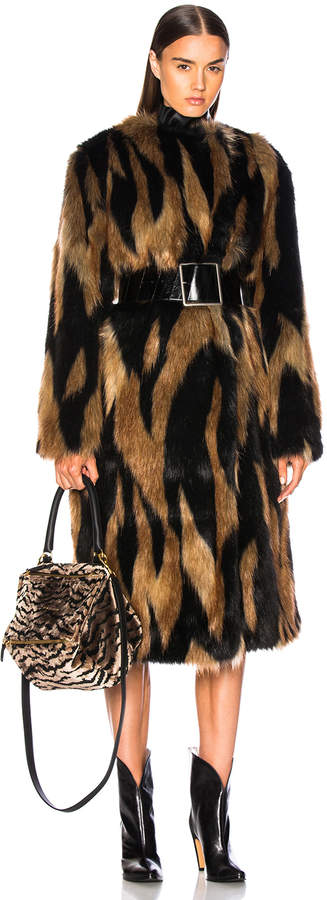 Givenchy Patchwork Faux Fur Coat in Brown & Black | FWRD