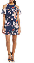 Jessica Howard Petite Cold-Shoulder Floral Dress