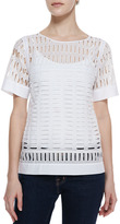 Rebecca Taylor Short-Sleeve Eyelet-Front Top, White