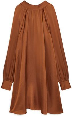 Arket Tie-Neck Linen Blend Dress