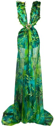 Versace Jungle Print Long Dress