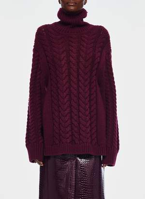 Tibi Cable Sweater Turtleneck Bareback Pullover