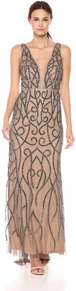 Adrianna Papell Women's Beaded Long Dress with Plunging Neckline and Mermaid Skirt