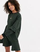 Asos Design DESIGN stripe tiered sweat mini dress in khaki and black