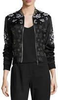 Elie Tahari Brandy Floral Lace Bomber Jacket, Black