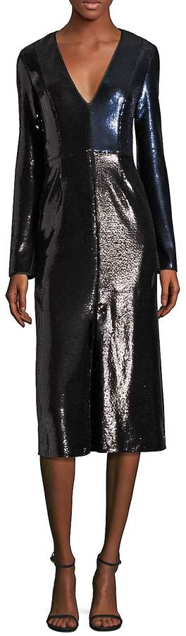 Diane von Furstenberg Women's Paneled Metallic Sequined Dress