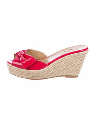 Valentino Patent Leather Bow Accents Espadrilles Pink