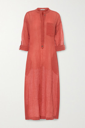 Three Graces London August Crinkled Cotton-voile Kaftan - Bright orange