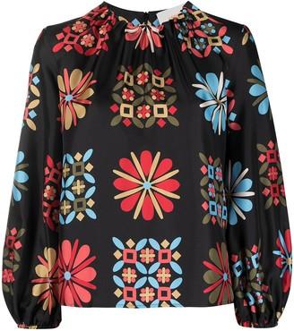 La DoubleJ Floral-Print Silk Top
