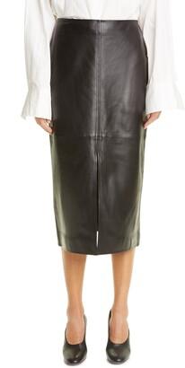 Co Essentials Paneled Lambskin Leather Skirt