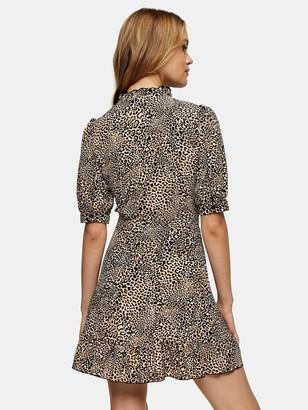 Topshop Animal Wrap Dress - Natural