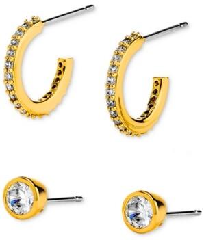 Eliot Danori 2-Pc. Set Cubic Zirconia C-Hoop & Stud Earrings, Created for Macy's