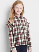 Gap Plaid twill ruffle long sleeve shirt