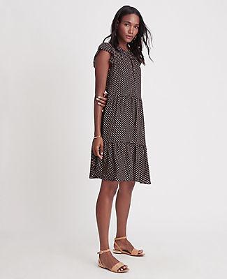 Ann Taylor Petite Dot Ruffle Sleeve Shift Dress