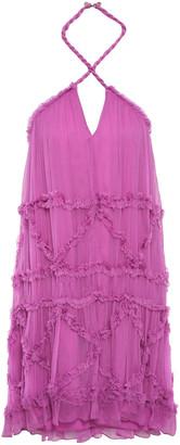 Just Cavalli Ruffle-trimmed Georgette Halterneck Mini Dress