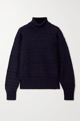 Victoria Beckham Cable-knit Wool Turtleneck Sweater - Navy