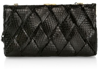 Nancy Gonzalez Large Woven Snakeskin Frame Clutch