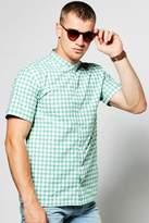 boohoo Gingham Short Sleeve Grandad Collar Shirt green