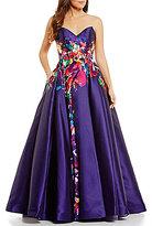 Ellie Wilde Blurred Floral Print Mikado Ball Gown