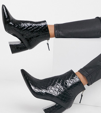 Raid Wide Fit Wynter heeled ankle boots in black croc