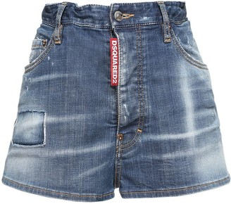 DSQUARED2 Stretch Cotton Denim Mini Shorts