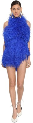 ATTICO Ostrich Feather Embellished Mini Dress