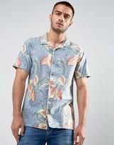 Tommy Hilfiger Shirt Short Sleeve Floral Print Regular Fit In Blue