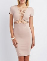 Charlotte Russe Lattice-Inset Bodycon Dress