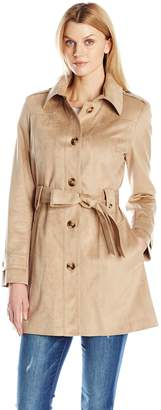 Via Spiga Women's Faux Suede Single Breasted Trench Coat