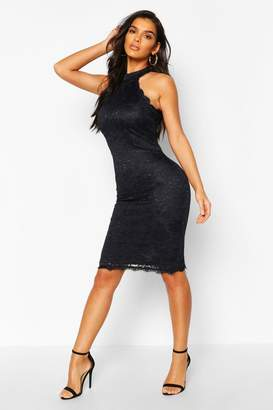 boohoo Lace Detail High Neck Midi Dress