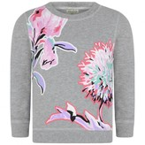 Kenzo KidsGirls Grey Floral Print Sweater
