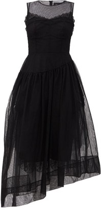 Simone Rocha Asymmetric Tulle Midi Dress - Black