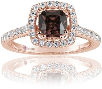 Suzy Levian Pink Rhodium Plated Sterling Silver Chocolate CZ Ring