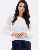 Shona Joy Alice Off-the-Shoulder Balloon Sleeve Jumper