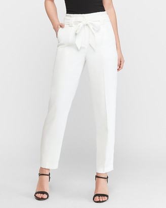 Express High Waisted White Paperbag Ankle Pant