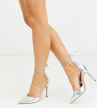 Asos Design DESIGN Wide Fit Whisper tie leg high stiletto heels in silver