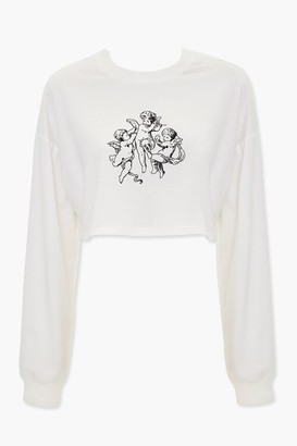 Forever 21 Angel Graphic Cropped Tee