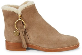 See by Chloe Louise Shearling-Lined Suede Ankle Boots