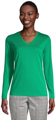 Lands' End Women's Relaxed-Fit Supima Cotton Long Sleeve V-Neck Tee