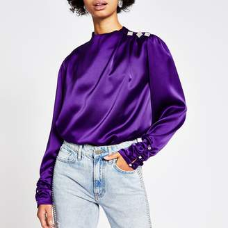 River Island Womens Purple long ruched sleeve diamante top