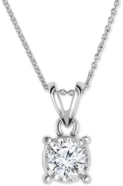 """TruMiracle Diamond 18"""" Pendant Necklace (1/2 ct. t.w.) in 14k White, Yellow, or Rose Gold"""