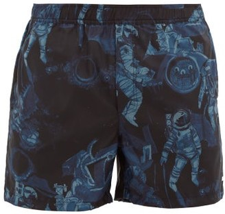 Valentino Astronaut-print Swim Shorts - Mens - Navy Multi
