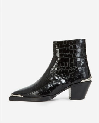 The Kooples Black crocodile-print leather ankle boots